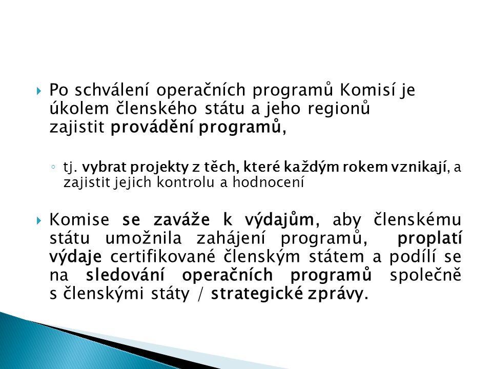  Po schválení operačních programů Komisí je úkolem členského státu a jeho regionů zajistit provádění programů, ◦ tj. vybrat projekty z těch, které ka