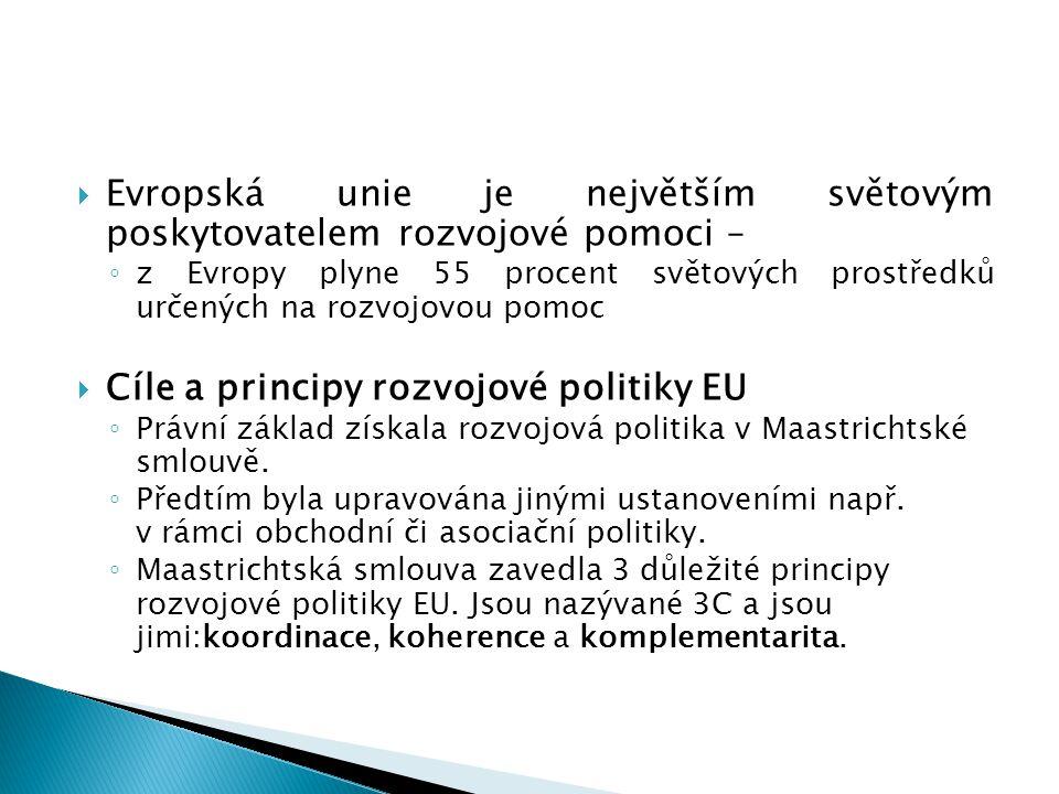  Evropská unie je největším světovým poskytovatelem rozvojové pomoci – ◦ z Evropy plyne 55 procent světových prostředků určených na rozvojovou pomoc  Cíle a principy rozvojové politiky EU ◦ Právní základ získala rozvojová politika v Maastrichtské smlouvě.