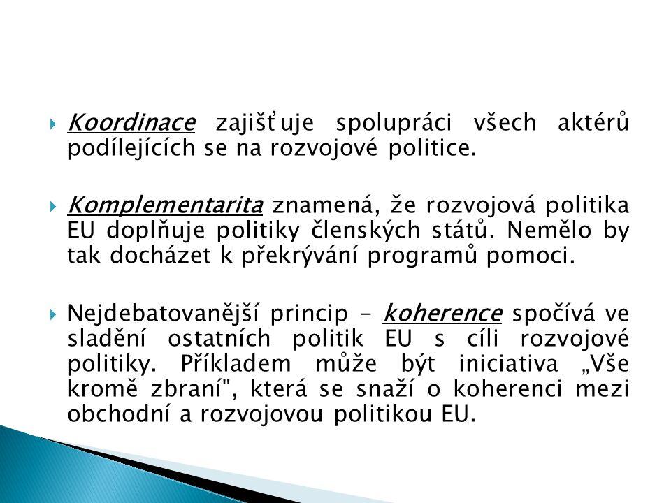  Koordinace zajišťuje spolupráci všech aktérů podílejících se na rozvojové politice.  Komplementarita znamená, že rozvojová politika EU doplňuje pol