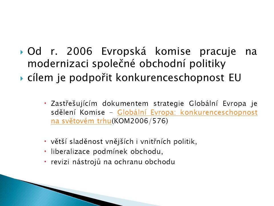  Od r. 2006 Evropská komise pracuje na modernizaci společné obchodní politiky  cílem je podpořit konkurenceschopnost EU  Zastřešujícím dokumentem s