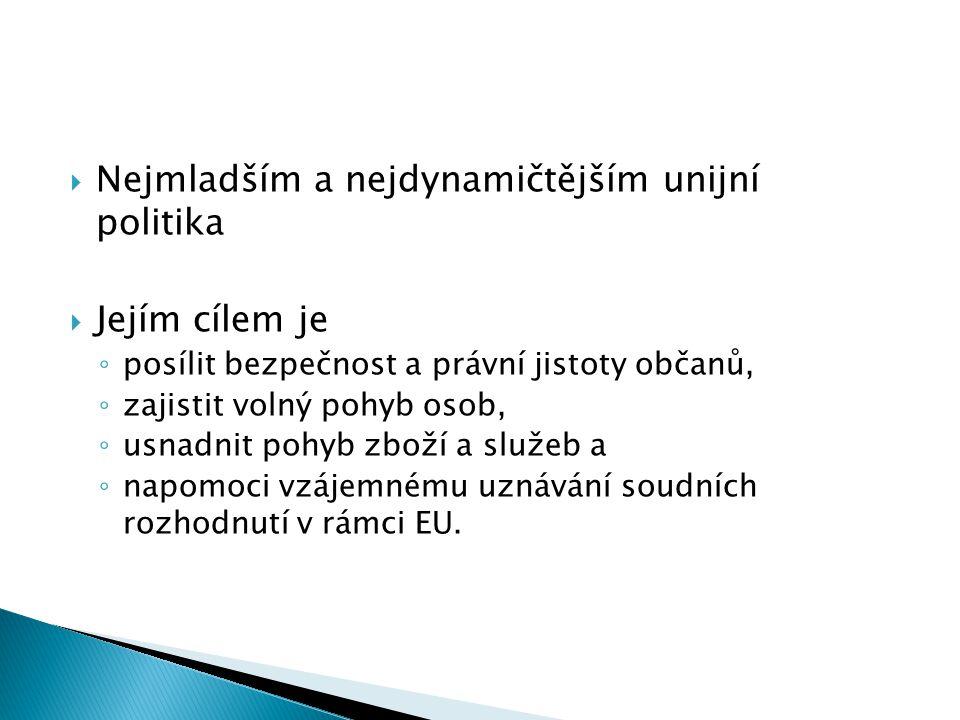  Nejmladším a nejdynamičtějším unijní politika  Jejím cílem je ◦ posílit bezpečnost a právní jistoty občanů, ◦ zajistit volný pohyb osob, ◦ usnadnit
