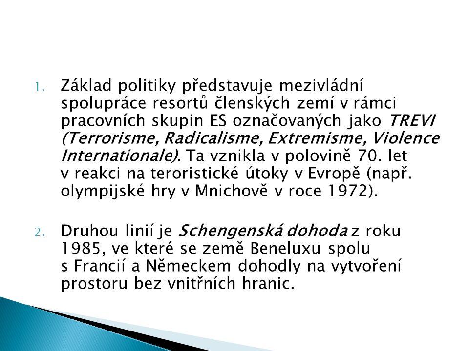 1. Základ politiky představuje mezivládní spolupráce resortů členských zemí v rámci pracovních skupin ES označovaných jako TREVI (Terrorisme, Radicali
