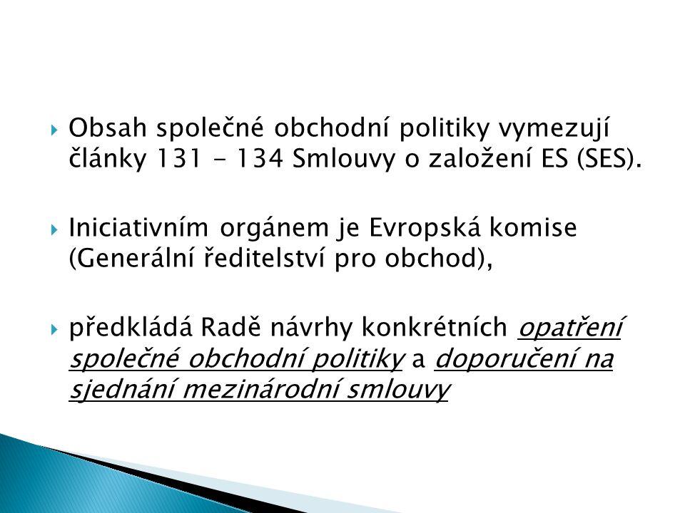  Obsah společné obchodní politiky vymezují články 131 - 134 Smlouvy o založení ES (SES).  Iniciativním orgánem je Evropská komise (Generální ředitel