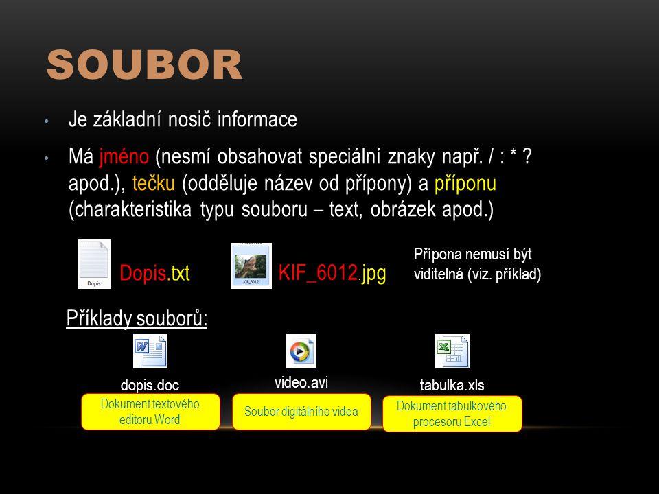 SOUBOR Je základní nosič informace Má jméno (nesmí obsahovat speciální znaky např.