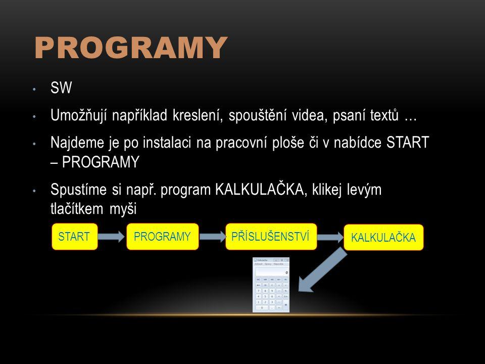 PROGRAMY SW Umožňují například kreslení, spouštění videa, psaní textů … Najdeme je po instalaci na pracovní ploše či v nabídce START – PROGRAMY Spustíme si např.