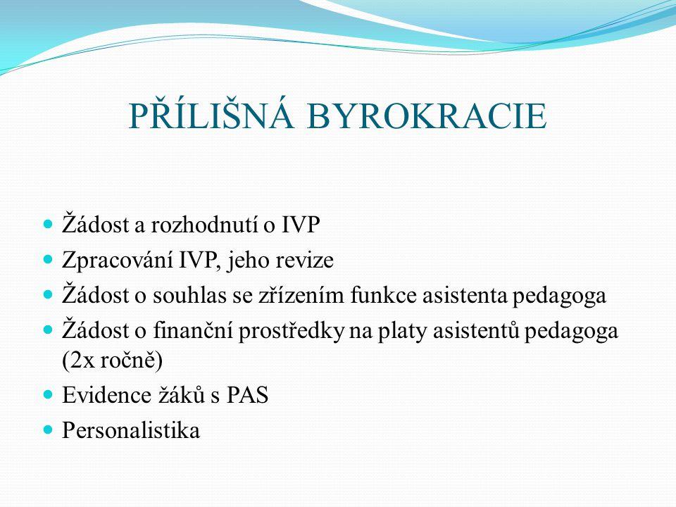 PŘÍLIŠNÁ BYROKRACIE Žádost a rozhodnutí o IVP Zpracování IVP, jeho revize Žádost o souhlas se zřízením funkce asistenta pedagoga Žádost o finanční pro