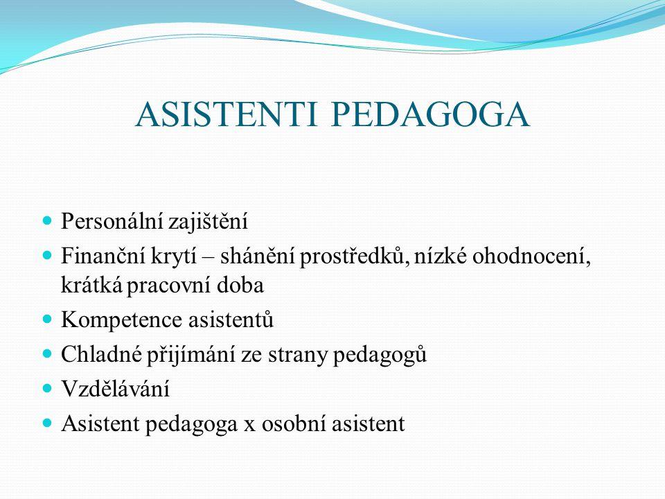 ASISTENTI PEDAGOGA Personální zajištění Finanční krytí – shánění prostředků, nízké ohodnocení, krátká pracovní doba Kompetence asistentů Chladné přijímání ze strany pedagogů Vzdělávání Asistent pedagoga x osobní asistent