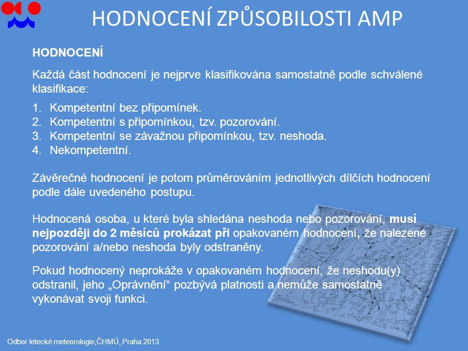 HODNOCENÍ ZPŮSOBILOSTI AMP Odbor letecké meteorologie,ČHMÚ, Praha 2013 HODNOCENÍ Každá část hodnocení je nejprve klasifikována samostatně podle schválené klasifikace: 1.Kompetentní bez připomínek.
