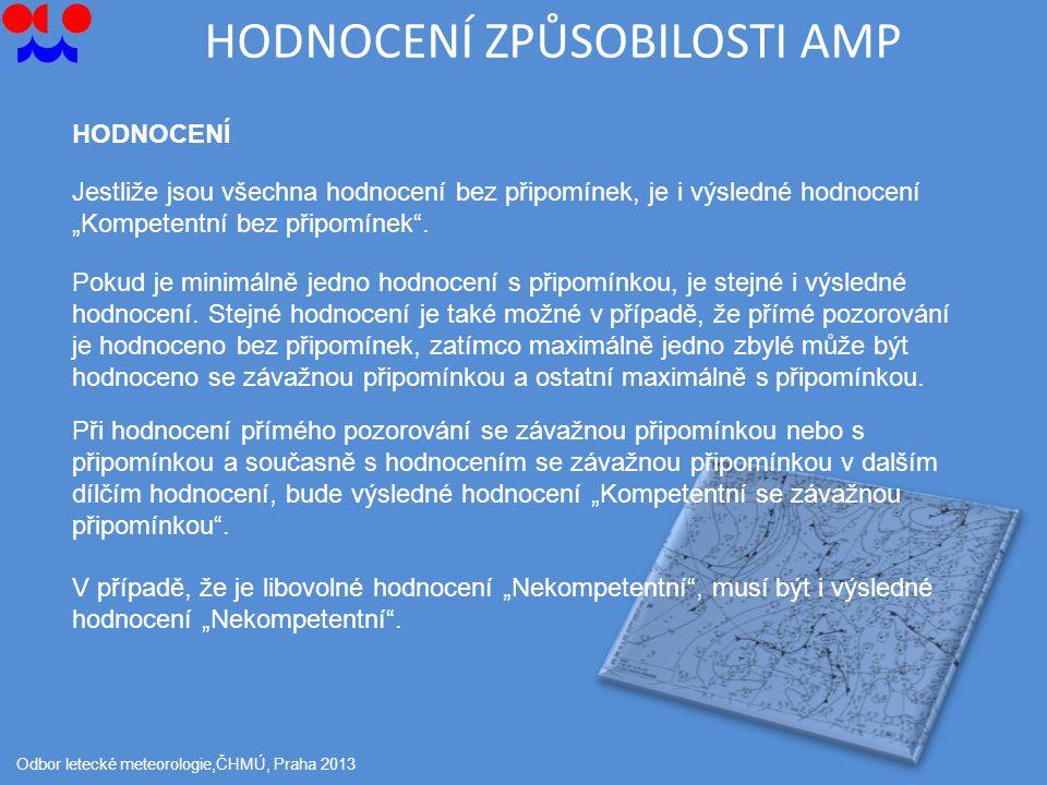 """HODNOCENÍ ZPŮSOBILOSTI AMP Odbor letecké meteorologie,ČHMÚ, Praha 2013 HODNOCENÍ Jestliže jsou všechna hodnocení bez připomínek, je i výsledné hodnocení """"Kompetentní bez připomínek ."""