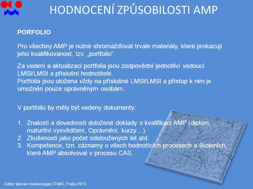 HODNOCENÍ ZPŮSOBILOSTI AMP Odbor letecké meteorologie,ČHMÚ, Praha 2013 PORFOLIO Pro všechny AMP je nutné shromažďovat trvale materiály, které prokazují jeho kvalifikovanost, tzv.