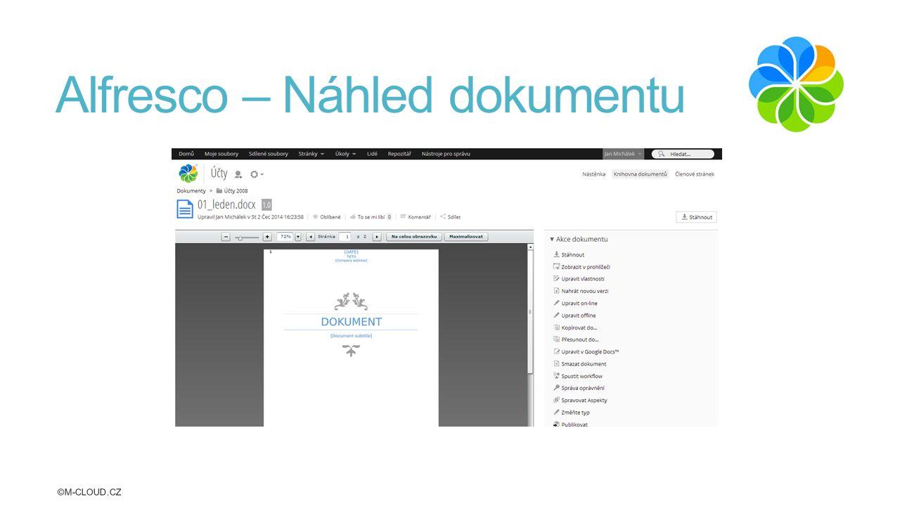 Alfresco – Náhled dokumentu ©M-CLOUD.CZ
