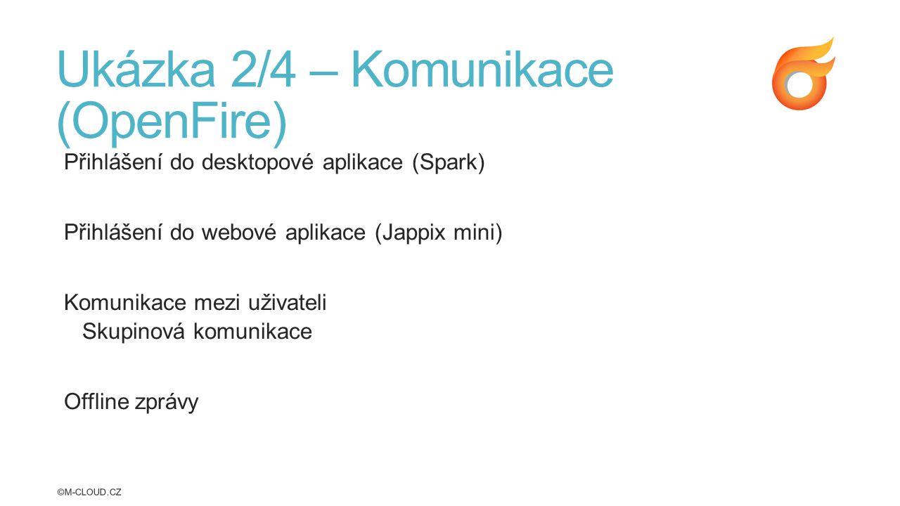 Ukázka 2/4 – Komunikace (OpenFire) Přihlášení do desktopové aplikace (Spark) Přihlášení do webové aplikace (Jappix mini) Komunikace mezi uživateli Skupinová komunikace Offline zprávy ©M-CLOUD.CZ