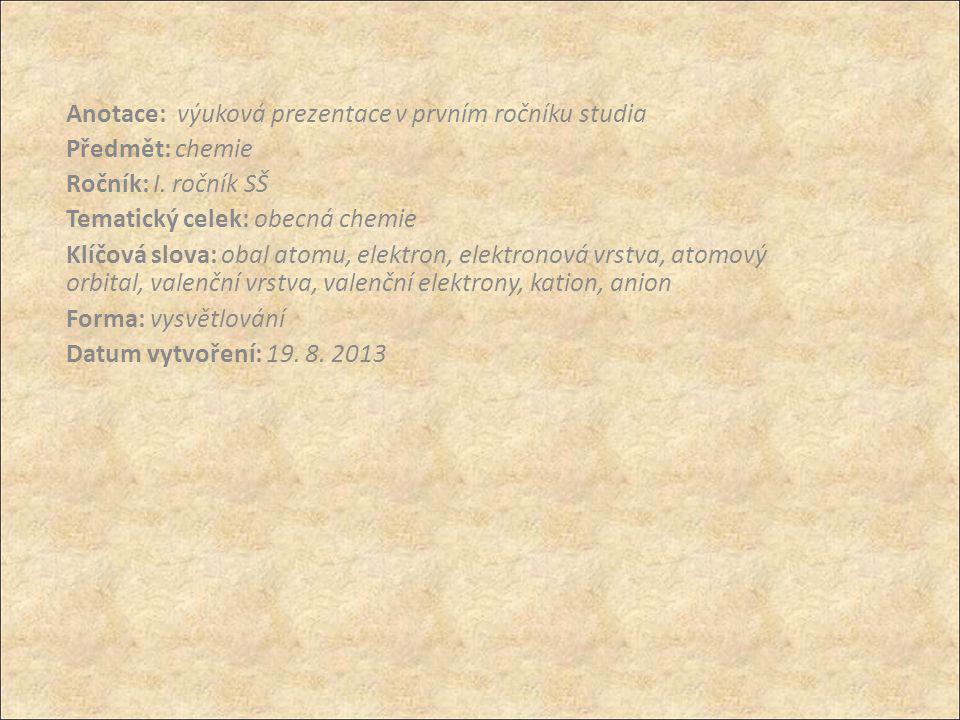 OBAL ATOMU obsahuje záporně nabité elektrony