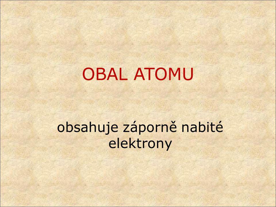 Elektrony jsou částice s nejmenším záporným elektrickým nábojem mají dualistický charakter = chovají se jako elementární částice i jako vlnění (elektromagnetické) pohybují se v obalu atomu v různých vzdálenostech od jádra (elektronových vrstvách) s různou energií kvantová teorie popisuje chování a výskyt elektronů v obalu – lze vypočítat oblasti, ve kterých se elektron nachází s pravděpodobností až 95% (orbitaly)