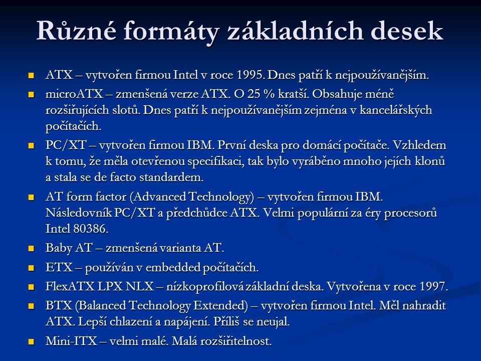 ATX – vytvořen firmou Intel v roce 1995. Dnes patří k nejpoužívanějším. ATX – vytvořen firmou Intel v roce 1995. Dnes patří k nejpoužívanějším. microA