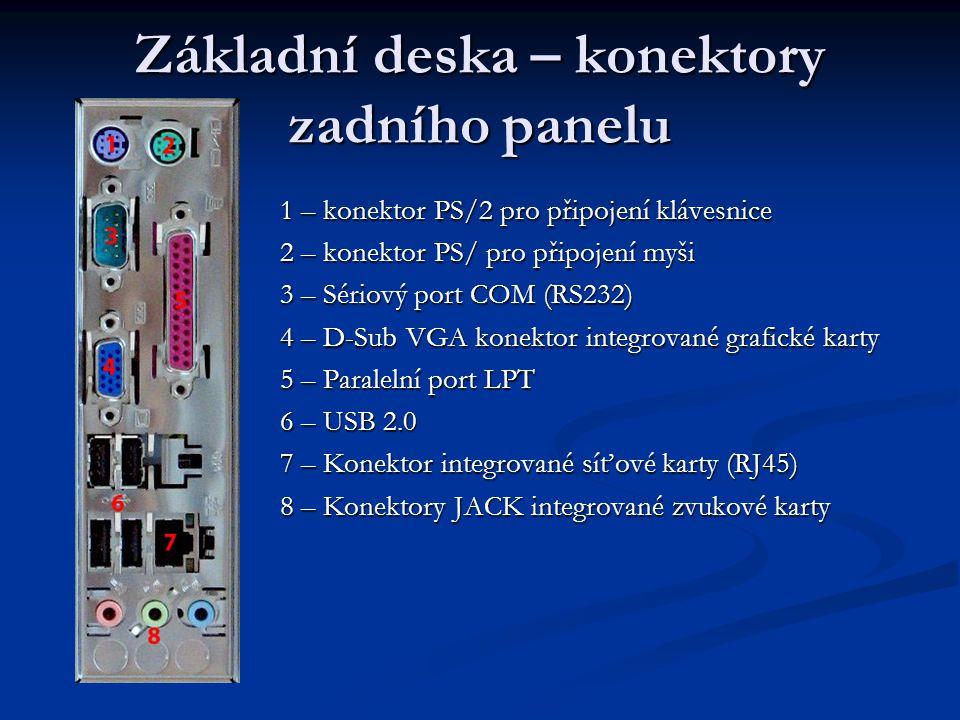 Základní deska – konektory zadního panelu 1 – konektor PS/2 pro připojení klávesnice 2 – konektor PS/ pro připojení myši 3 – Sériový port COM (RS232)