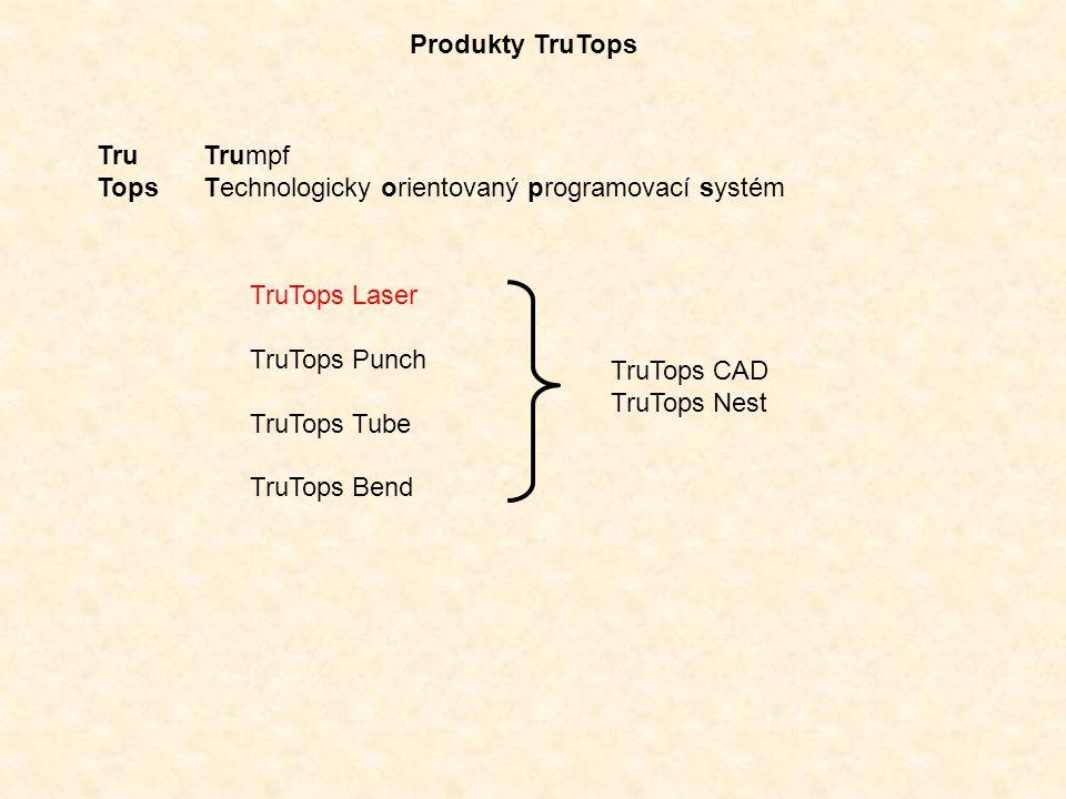 Produkty TruTops Tru Trumpf Tops Technologicky orientovaný programovací systém TruTops Laser TruTops Punch TruTops Tube TruTops Bend TruTops CAD TruTo