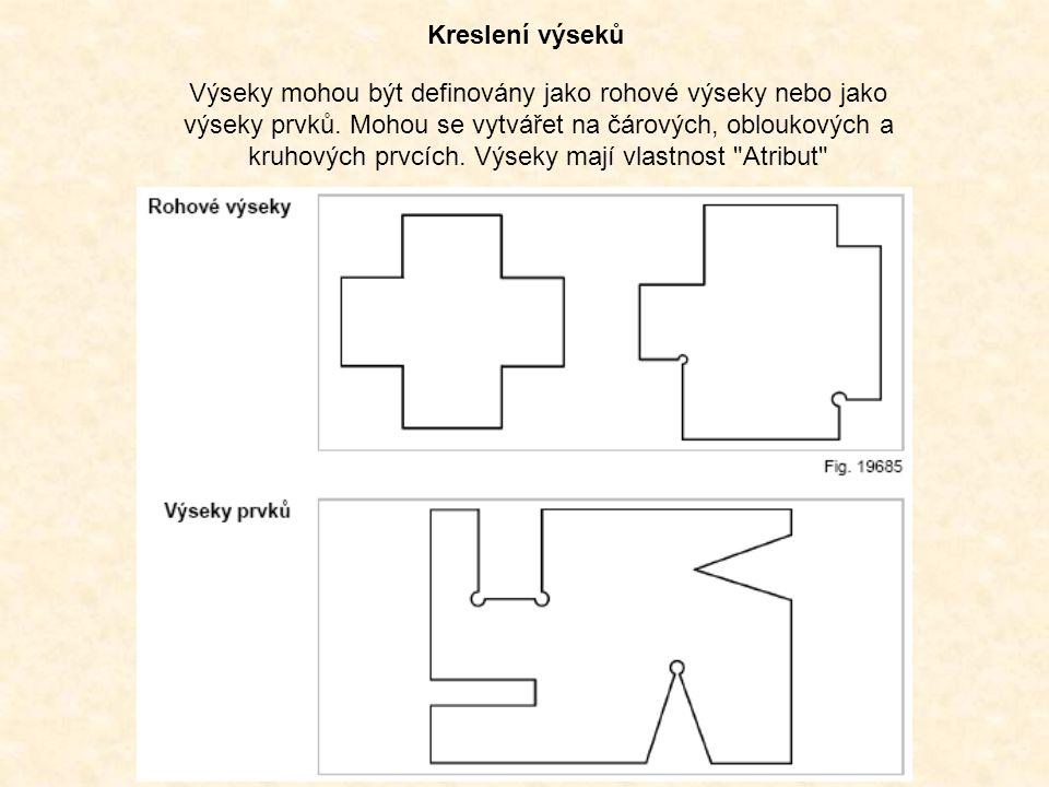 Kreslení výseků Výseky mohou být definovány jako rohové výseky nebo jako výseky prvků. Mohou se vytvářet na čárových, obloukových a kruhových prvcích.