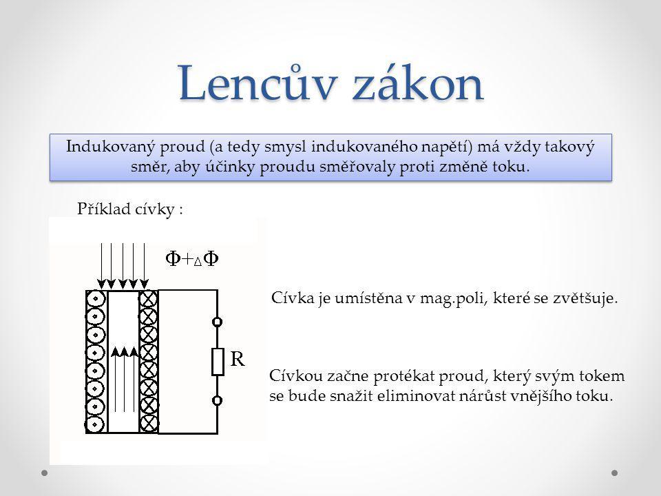 Lencův zákon Indukovaný proud (a tedy smysl indukovaného napětí) má vždy takový směr, aby účinky proudu směřovaly proti změně toku. Příklad cívky : Cí