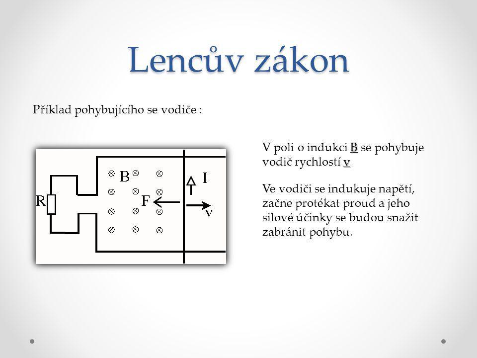 Lencův zákon Příklad pohybujícího se vodiče : B v V poli o indukci B se pohybuje vodič rychlostí v Ve vodiči se indukuje napětí, začne protékat proud