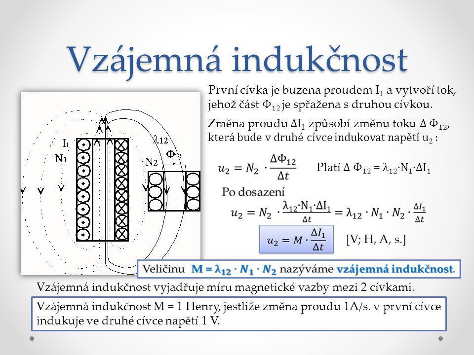 Vzájemná indukčnost První cívka je buzena proudem I 1 a vytvoří tok, jehož část Φ 12 je spřažena s druhou cívkou. Změna proudu ∆ I 1 způsobí změnu tok