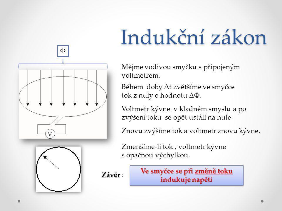 Indukční zákon Mějme vodivou smyčku s připojeným voltmetrem. Ф Během doby Δt zvětšíme ve smyčce tok z nuly o hodnotu ΔΦ. Voltmetr kývne v kladném smys