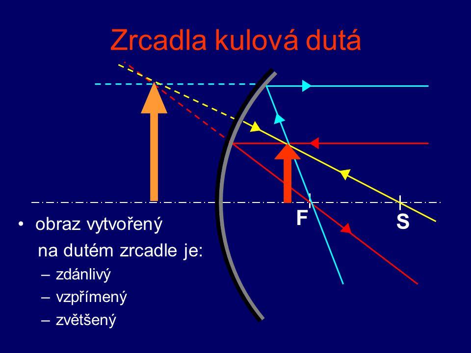 Zrcadla kulová dutá využití: součást osvětlovacích zařízení FS reflektory dalekohledy