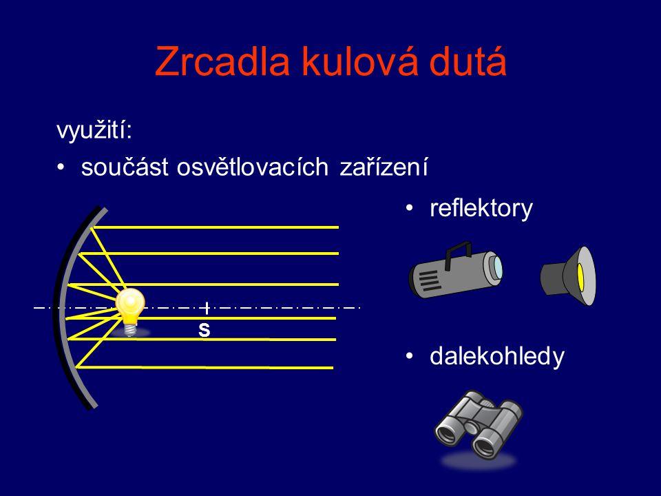 Zrcadla kulová dutá využití: součást osvětlovacích zařízení FS antény zrcátka u lékařů