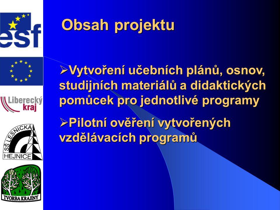 Obsah projektu  Vytvoření učebních plánů, osnov, studijních materiálů a didaktických pomůcek pro jednotlivé programy  Pilotní ověření vytvořených vz