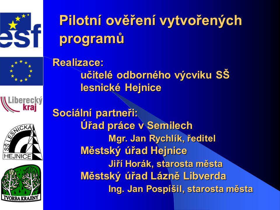 Program1. Pilotní ověření vytvořených programů Program1. Pilotní ověření vytvořených programů Realizace: učitelé odborného výcviku SŠ lesnické Hejnice