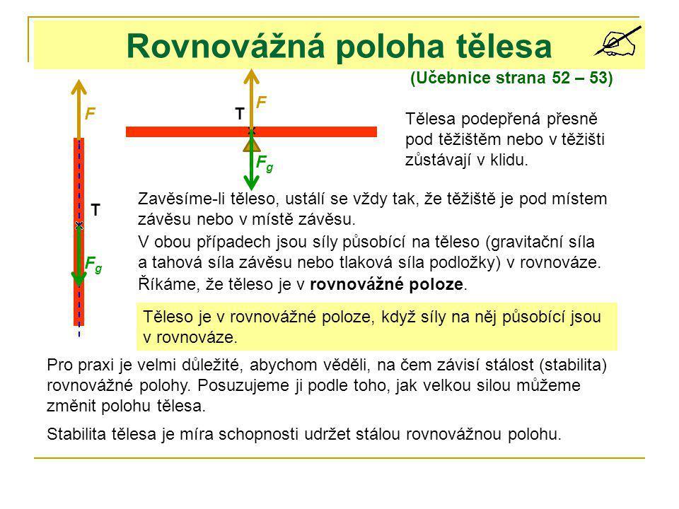Rovnovážná poloha tělesa (Učebnice strana 52 – 53) T T Tělesa podepřená přesně pod těžištěm nebo v těžišti zůstávají v klidu. Zavěsíme-li těleso, ustá