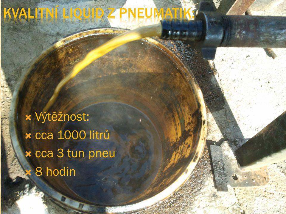  Výtěžnost:  cca 1000 litrů  cca 3 tun pneu  8 hodin