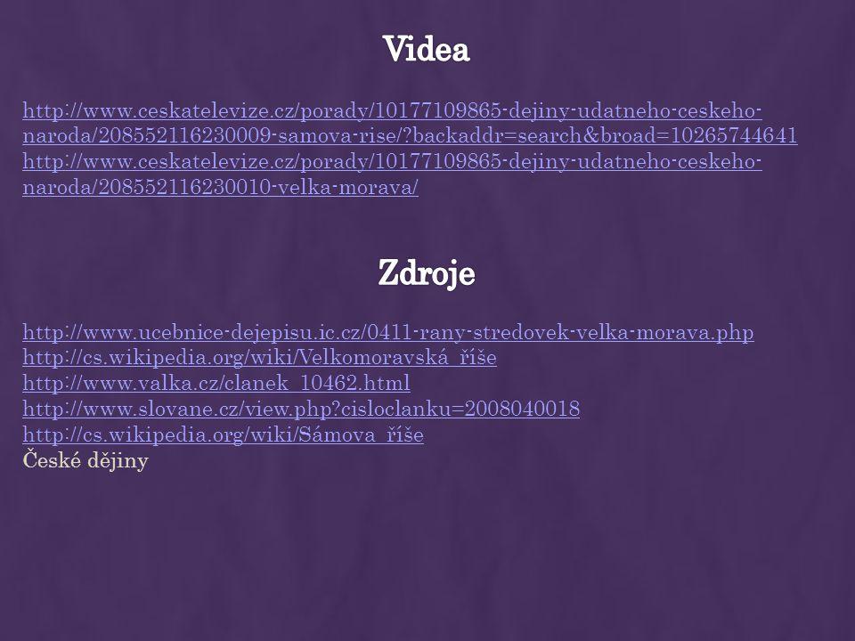 http://www.ucebnice-dejepisu.ic.cz/0411-rany-stredovek-velka-morava.php http://cs.wikipedia.org/wiki/Velkomoravská_říše http://www.valka.cz/clanek_104