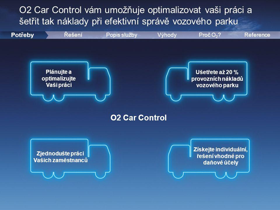 2 Potřeby ŘešeníPopis službyVýhodyReferenceProč O 2 ? O2 Car Control Plánujte a optimalizujte Vaši práci Zjednodušte práci Vašich zaměstnanců Ušetřete