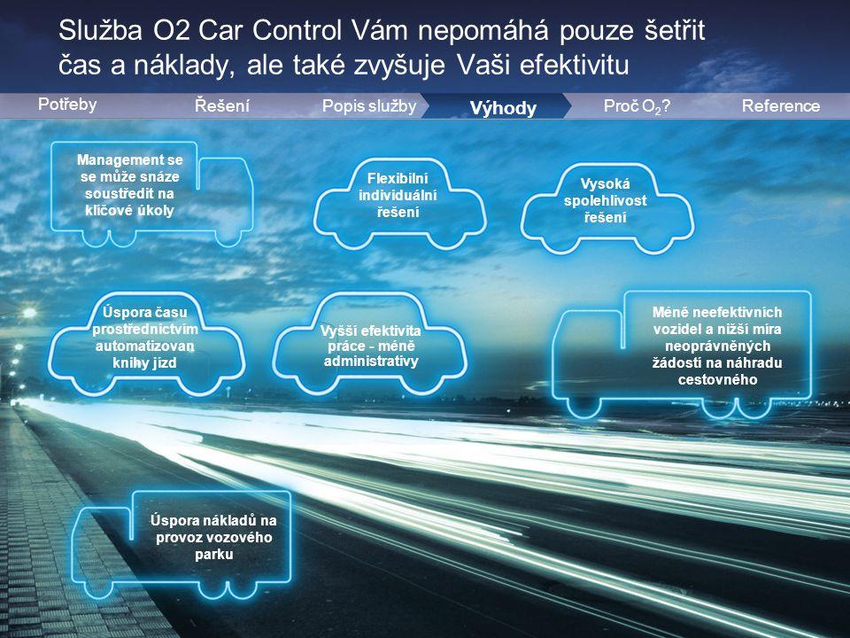 6 Služba O2 Car Control Vám nepomáhá pouze šetřit čas a náklady, ale také zvyšuje Vaši efektivitu 9 ŘešeníPopis služby Potřeby Výhody ReferenceProč O 2 .