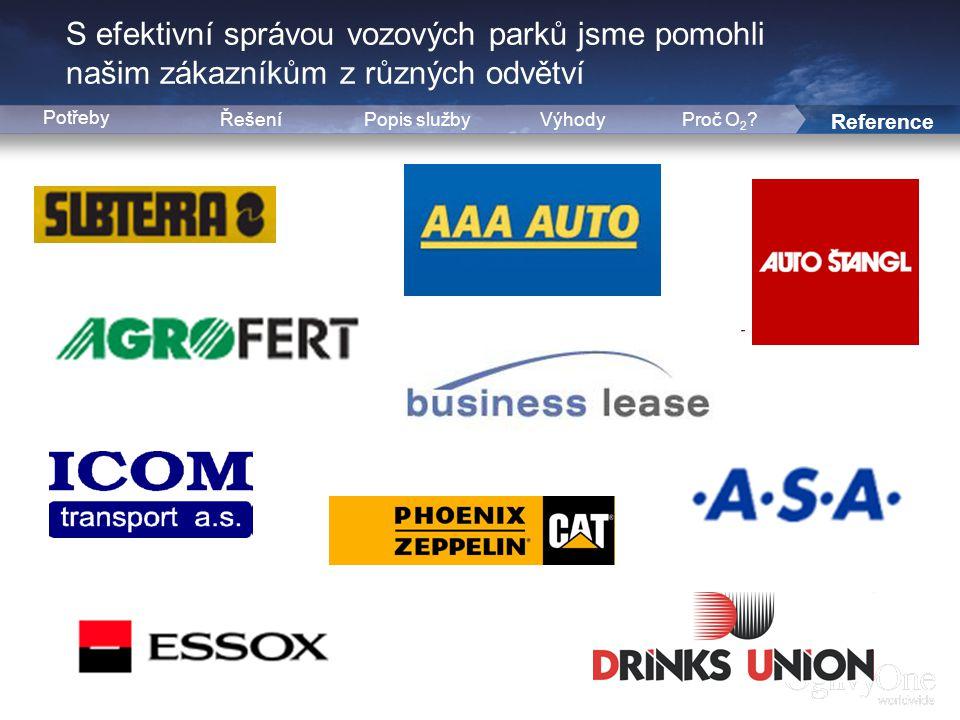 8 S efektivní správou vozových parků jsme pomohli našim zákazníkům z různých odvětví ŘešeníPopis službyVýhody Reference Potřeby Proč O 2 ?