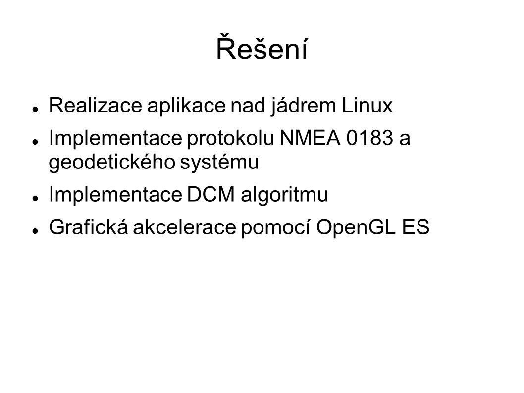 Řešení Realizace aplikace nad jádrem Linux Implementace protokolu NMEA 0183 a geodetického systému Implementace DCM algoritmu Grafická akcelerace pomo