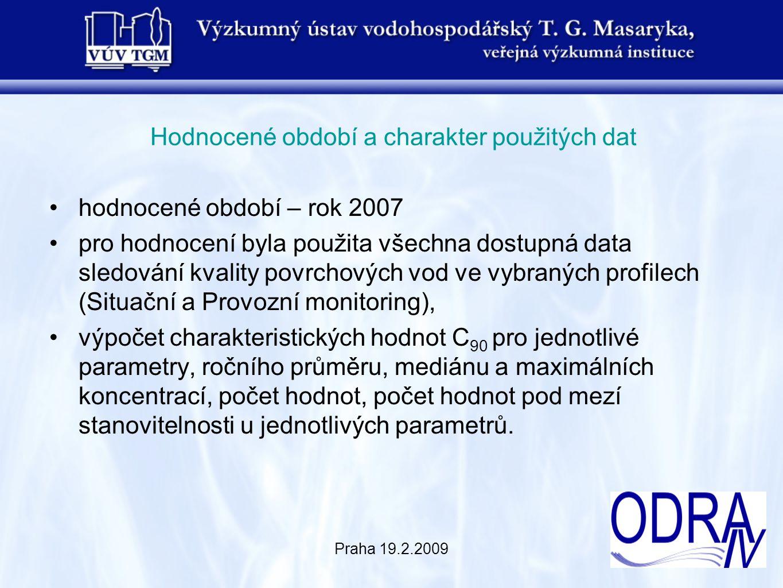 Praha 19.2.2009 Hodnocené období a charakter použitých dat hodnocené období – rok 2007 pro hodnocení byla použita všechna dostupná data sledování kval