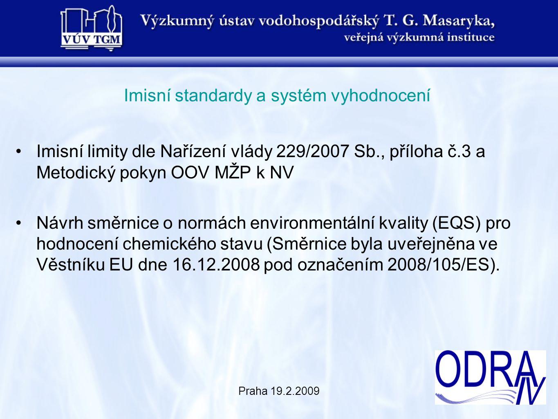 Praha 19.2.2009 Imisní standardy a systém vyhodnocení Imisní limity dle Nařízení vlády 229/2007 Sb., příloha č.3 a Metodický pokyn OOV MŽP k NV Návrh směrnice o normách environmentální kvality (EQS) pro hodnocení chemického stavu (Směrnice byla uveřejněna ve Věstníku EU dne 16.12.2008 pod označením 2008/105/ES).