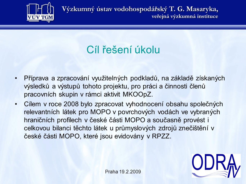 Praha 19.2.2009 Cíl řešení úkolu Příprava a zpracování využitelných podkladů, na základě získaných výsledků a výstupů tohoto projektu, pro práci a čin
