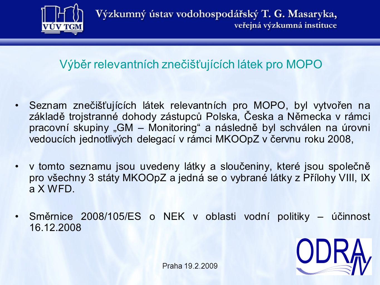 """Praha 19.2.2009 Výběr relevantních znečišťujících látek pro MOPO Seznam znečišťujících látek relevantních pro MOPO, byl vytvořen na základě trojstranné dohody zástupců Polska, Česka a Německa v rámci pracovní skupiny """"GM – Monitoring a následně byl schválen na úrovni vedoucích jednotlivých delegací v rámci MKOOpZ v červnu roku 2008, v tomto seznamu jsou uvedeny látky a sloučeniny, které jsou společně pro všechny 3 státy MKOOpZ a jedná se o vybrané látky z Přílohy VIII, IX a X WFD."""