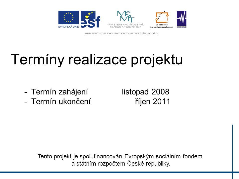 Termíny realizace projektu - Termín zahájenílistopad 2008 - Termín ukončení říjen 2011 Tento projekt je spolufinancován Evropským sociálním fondem a státním rozpočtem České republiky.