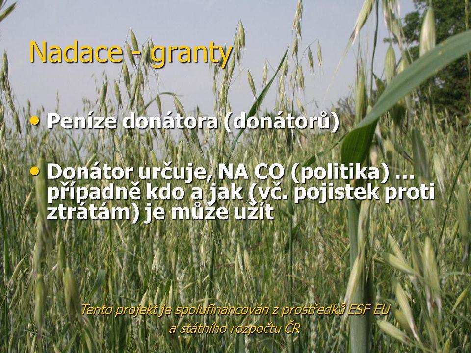 Nadace - granty Peníze donátora (donátorů) Peníze donátora (donátorů) Donátor určuje, NA CO (politika) … případně kdo a jak (vč.