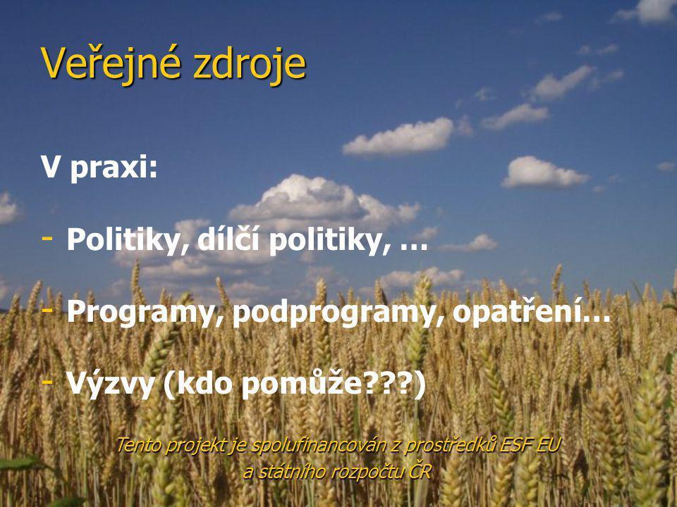 Veřejné zdroje V praxi: - - Politiky, dílčí politiky, … - - Programy, podprogramy, opatření… - - Výzvy (kdo pomůže???) Tento projekt je spolufinancován z prostředků ESF EU a státního rozpočtu ČR