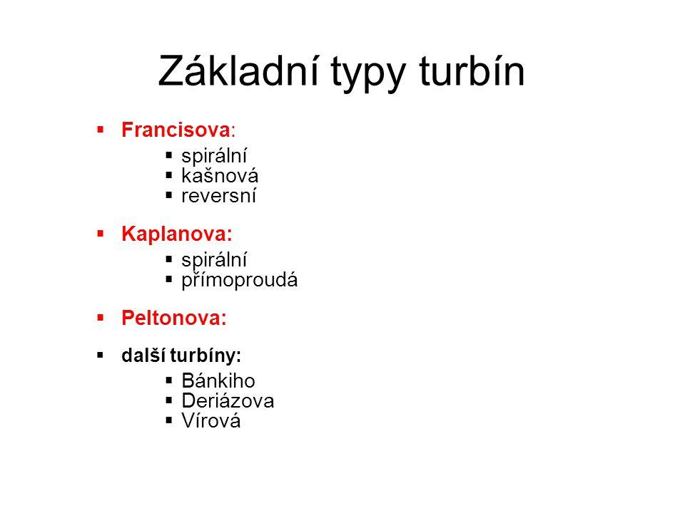 Základní typy turbín  Francisova:  spirální  kašnová  reversní  Kaplanova:  spirální  přímoproudá  Peltonova:  další turbíny:  Bánkiho  Der