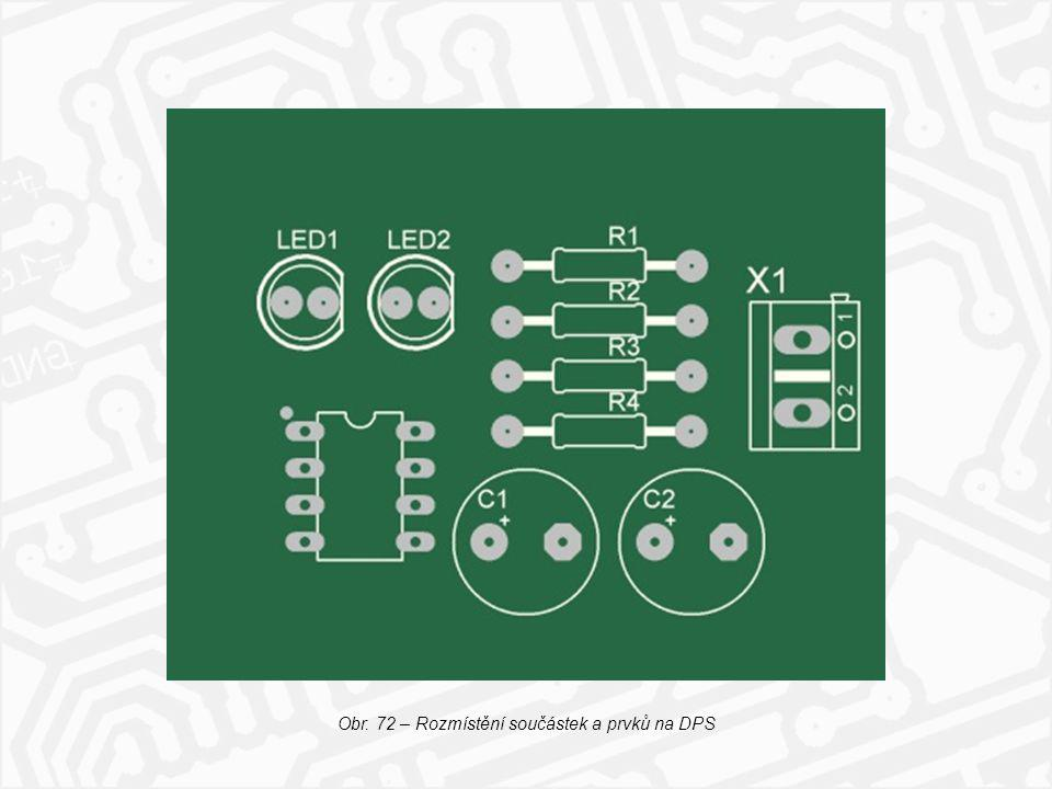 Obr. 72 – Rozmístění součástek a prvků na DPS