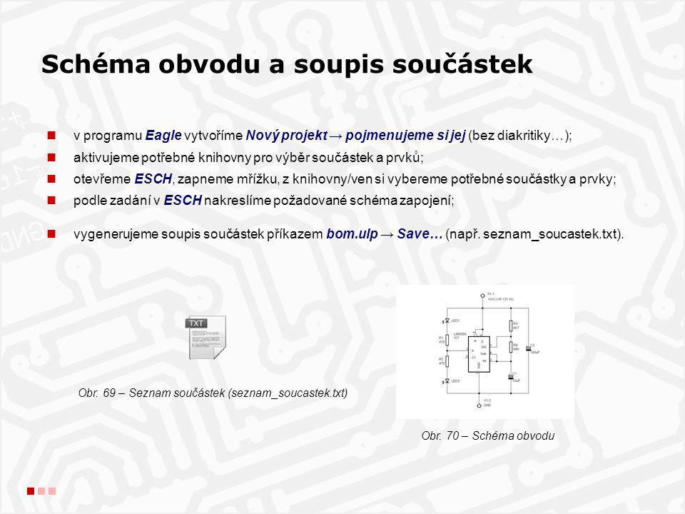 Schéma obvodu a soupis součástek v programu Eagle vytvoříme Nový projekt → pojmenujeme si jej (bez diakritiky…); aktivujeme potřebné knihovny pro výbě