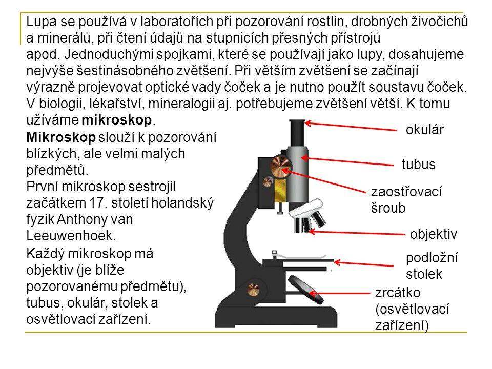 Základem optické soustavy mikroskopu jsou dvě spojné čočky, které se liší ohniskovou vzdáleností.