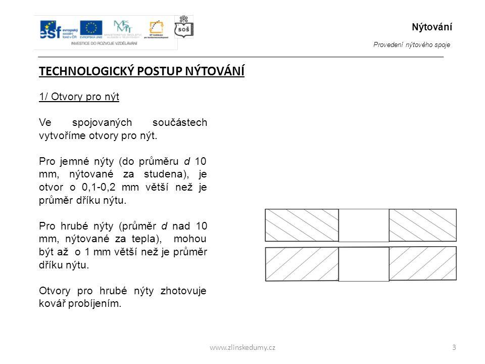 www.zlinskedumy.cz TECHNOLOGICKÝ POSTUP NÝTOVÁNÍ 1/ Otvory pro nýt Ve spojovaných součástech vytvoříme otvory pro nýt. Pro jemné nýty (do průměru d 10