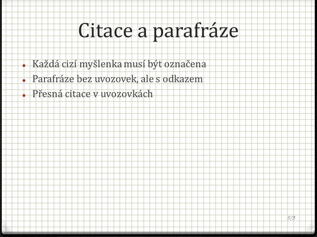 Citace a parafráze Každá cizí myšlenka musí být označena Parafráze bez uvozovek, ale s odkazem Přesná citace v uvozovkách 5/3